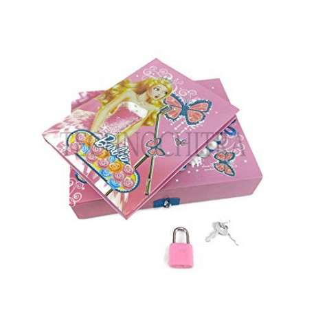 TECHNOCHITRA Barbie Printed Lock Diary for Girls, Lock Diary for Girls with Lock and Key