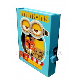 TECHNOCHITRA Funny Minion Printed Lock Diary, Personal Diary with Lock ( Color May Vary)