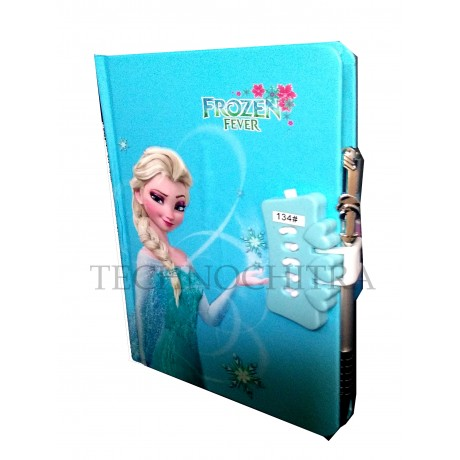 TECHNOCHITRA Frozen Printed Lock Diary with Pen, Frozen printed Number Lock Diary for Girls, Blue