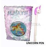 TECHNOCHITRA Unicorn Water & Fur Diary for Girl with Pen, Water Fur Unicorn Diary with Pen