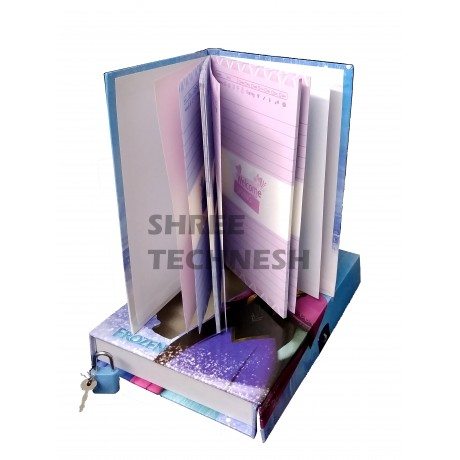 TECHNOCHITRA Set of Angel Printed Pencil box with stationery and Angel Printed Lock Diary, color may vary