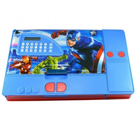 TECHNOCHITRA Jumbo Size Dual Sided Magnetic Closure Super Heros Pencil Box with Calculator