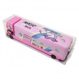 TECHNOCHITRA School Bus Shape Metal Dual Sided Pencil box with in-build sharpener for kids, Pink