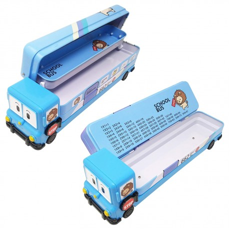 TECHNOCHITRA School Bus Shape Metal Dual Sided Pencil box with in-build sharpener for kids, Blue
