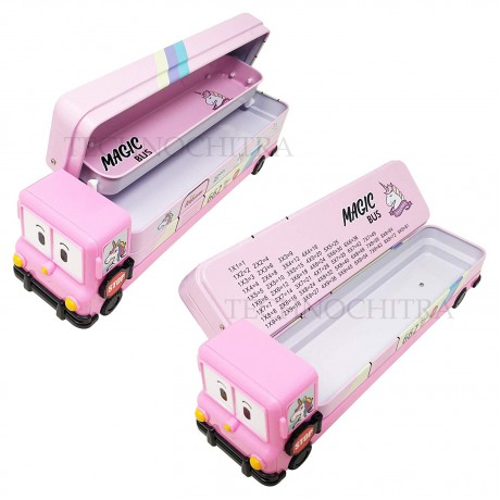 TECHNOCHITRA Combo for Bus Shape Metal Pencil Box with 3 in 1 Stylus Ball Pen, Pink