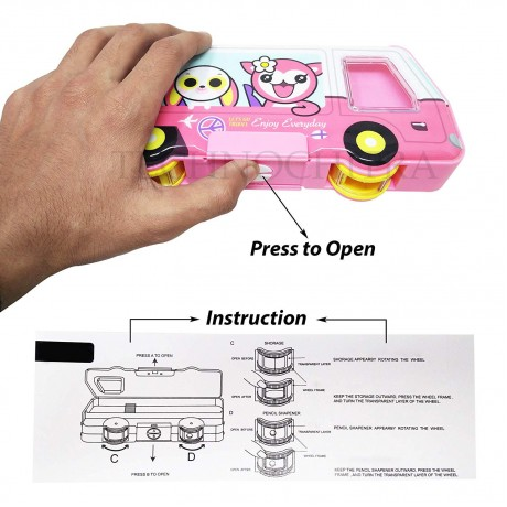 TECHNOCHITRA School Bus Shape Dual Sided Pencil box with in-build sharpener for kids, Pink