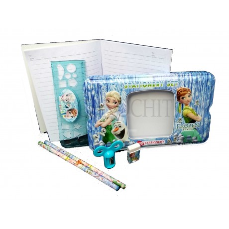 TECHNOCHITRA Cute 3D Angel Printed Metal Pencil Box with Stationery Set, Return Gift