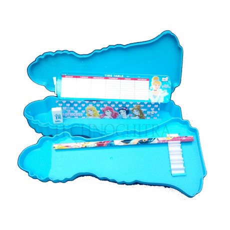 TECHNOCHITRA Angel Printed Dual Space Plastic Pencil Box with Pencil & Eraser| Blue| Used for Return Gifts | MOQ-2
