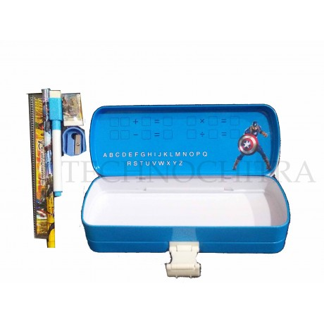 TECHNOCHITRA Super Heros Printed Metal Pencil Box with Writing Space, marker and stationery set
