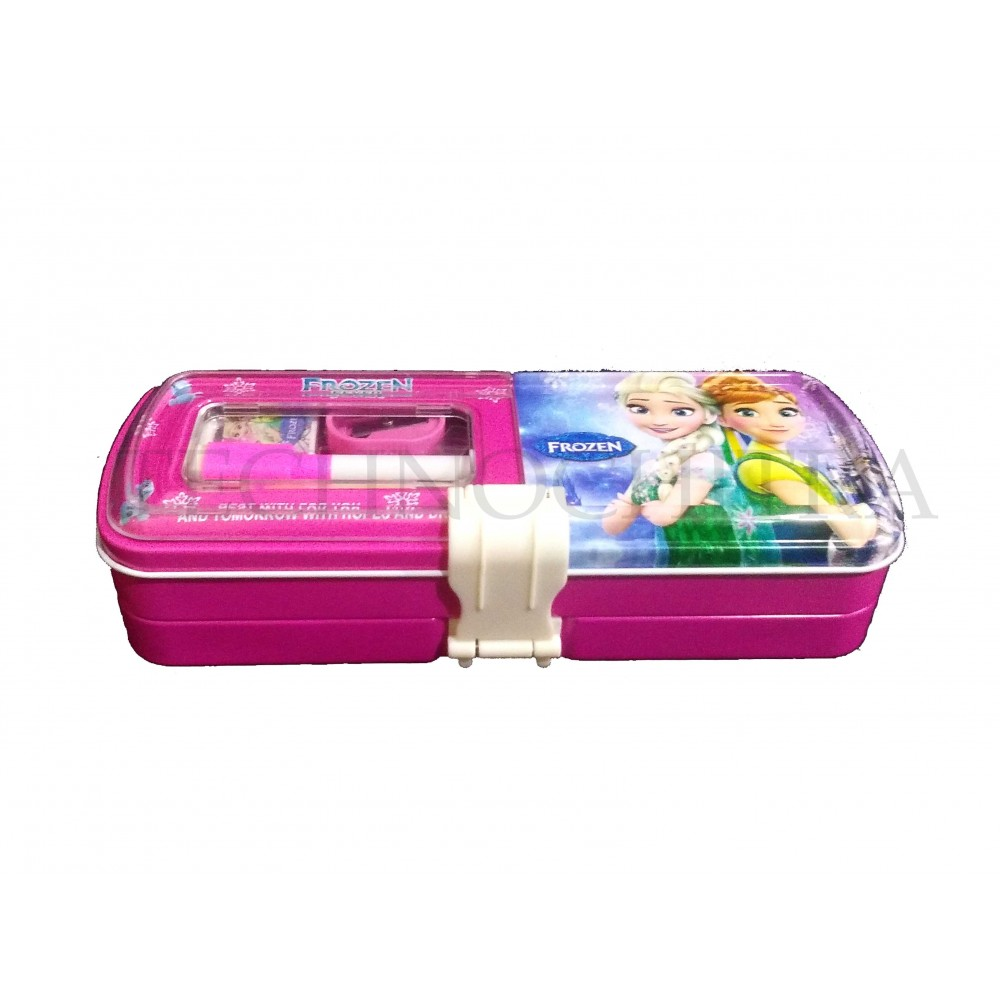 TECHNOCHITRA Cute Angel Printed Metal Pencil Box with Writing Space, marker and stationery set