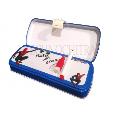 TECHNOCHITRA Web Spider Printed Metal Pencil Box with Writing Space, marker and stationery set