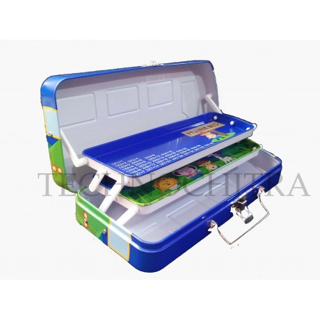 TECHNOCHITRA School Bus Shape, Dual Compartment Metal Pencil box with revolving Wheels , Blue