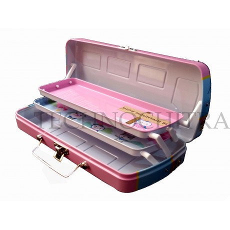TECHNOCHITRA School Bus Shape, Dual Compartment Metal Pencil box with revolving Wheels , Pink
