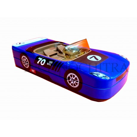 TECHNOCHITRA  Amazing Metal Car Shape Dual Space Pencil Box with movable wheels, Blue