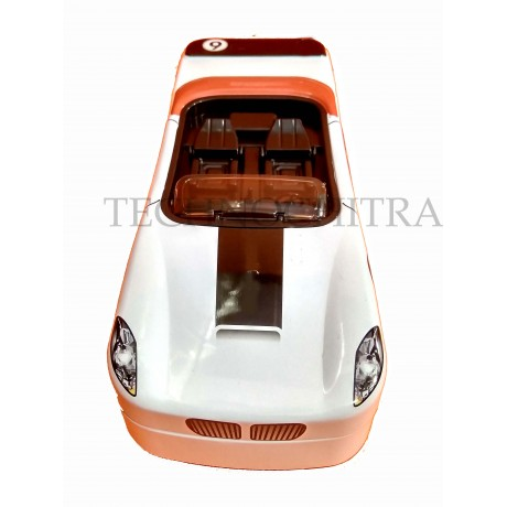 TECHNOCHITRA  Amazing Metal Car Shape Dual Space Pencil Box with movable wheels, White