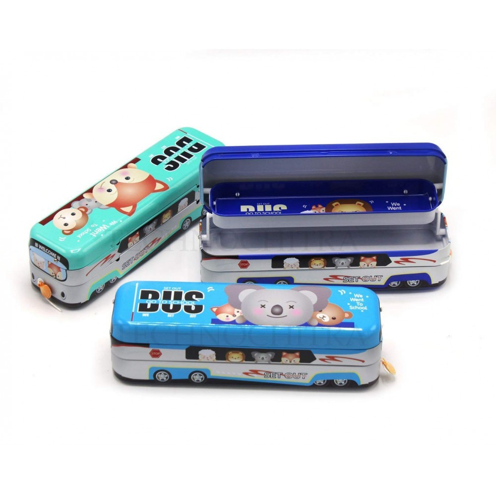 TECHNOCHITRA MINI Metal Bus Shape Pencil Box for Kids, Dual Space Pencil Box for Boys