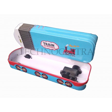 TECHNOCHITRA Train Shape Metal Pencil Box with movable wheels for boys