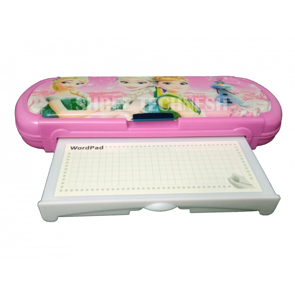 TECHNOCHITRA Exclusive Cute Angel Printed Dual Sided Magnetic Closure Pencil Box with White Board
