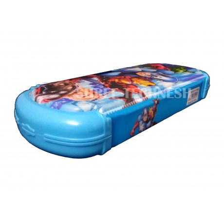 TECHNOCHITRA Exclusive Super Heros Printed Dual Sided Magnetic Closure Pencil Box with White Board
