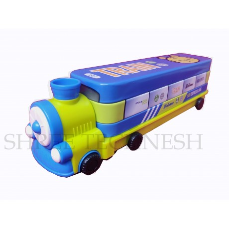 TECHNOCHITRA Rail Engine Shape Metal Pencil Box with sharpener and movable wheels