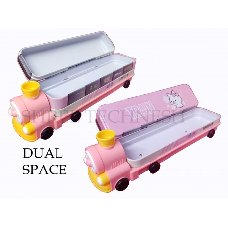 TECHNOCHITRA Rail Engine Shape Metal Pencil Box with sharpener and movable wheels, Pink