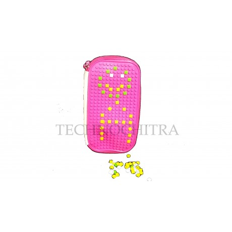 TECHNOCHITRA Puzzle Make Pencil Pouch for kids, Zipper Pencil Pouch for Kids, Pink