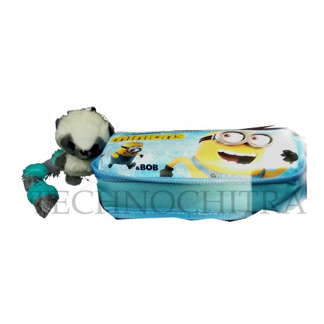 TECHNOCHITRA Light weighted Minion printed Zipper Pouch with Key-chain, Minion stationery Pouches, Blue