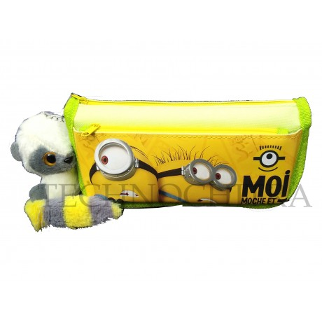 TECHNOCHITRA Light weighted Minion printed Zipper Pouch with Key-chain, Minion stationery Pouches, Yellow
