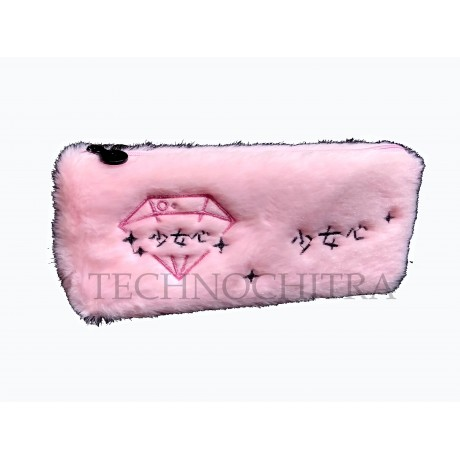 TECHNOCHITRA Exclusive Fur Pouch, Ziper fur pouch for girls and Kids, Pink