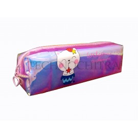 TECHNOCHITRA New Translucent Cute Kitty Printed Flexible Zipper Pouch for Girls and Kids