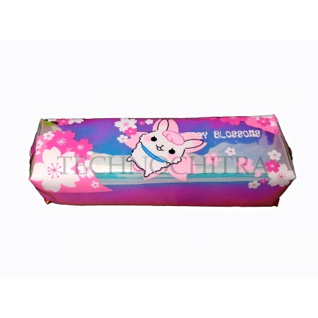 TECHNOCHITRA New Translucent Cute Rabbit Printed Flexible Zipper Pouch for Girls and Kids