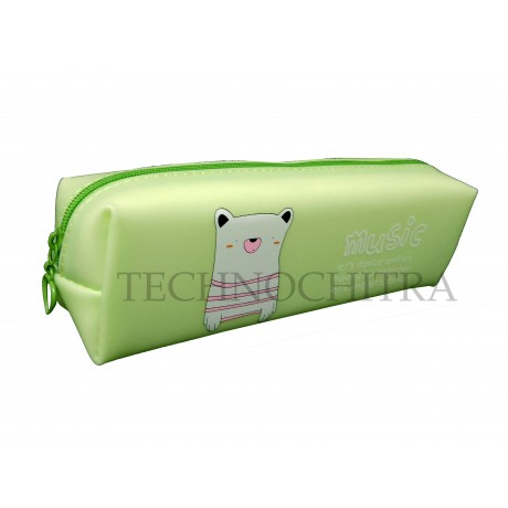 TECHNOCHITRA Silicon Cartoon Printed Zipper Pouch, Green