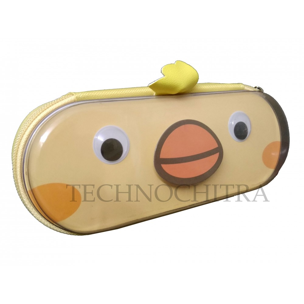 TECHNOCHITRA Cute Chick Eyes Big Size Zipper Multipurpose Pouch, Peach