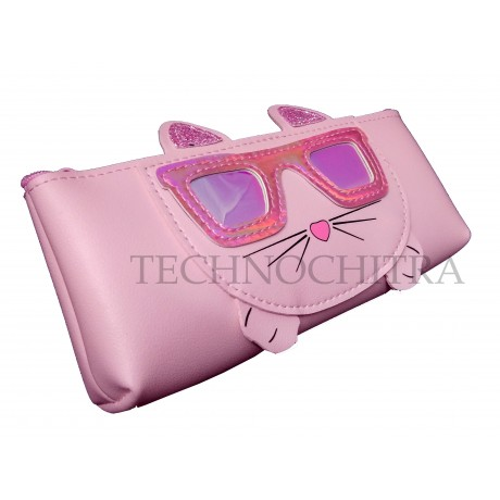 TECHNOCHITRA Unique Cat Face Zipper Pouch for Girls, Pouches for Girls, Pink