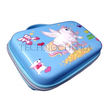 TECHNOCHITRA Premium Jumbo Size 7D Unicorn Printed Pouches for Girls, Premium Quality Multipurpose pouches for Girls, Bue