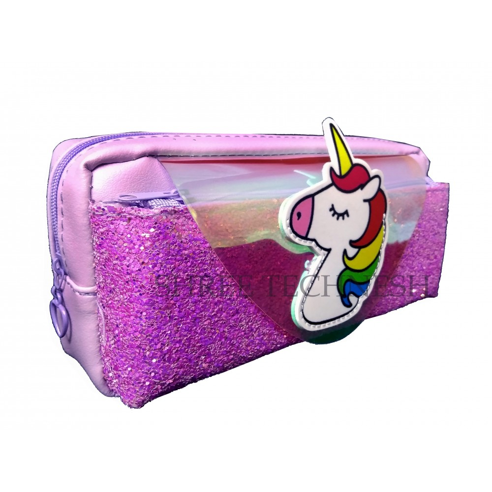 TECHNOCHITRA Amazing Unicorn Printed Glittery Shiny Pouch, Unicorn Printed Pouch, Purple
