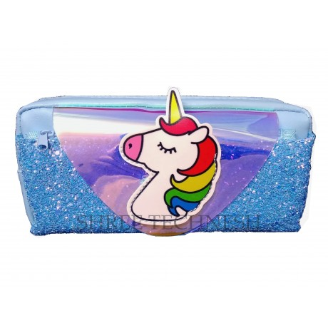 TECHNOCHITRA Amazing Unicorn Printed Glittery Shiny Pouch, Unicorn Printed Pouch, Blue