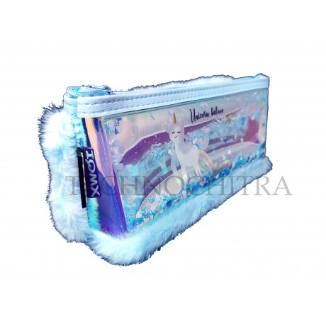 TECHNOCHITRA Exclusive Water and Fur Unicorn Printed Pouch, Water and Fur Pouch for Girls, Blue
