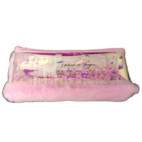 TECHNOCHITRA Exclusive Water and Fur Unicorn Printed Pouch, Water and Fur Pouch for Girls, Pink