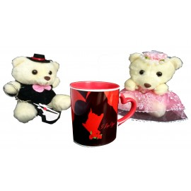 TECHNOCHITRA Exclusive Valentine Gift combo with Red Heart Handled Love Mug, Cute Couple Teddy and Key Ring
