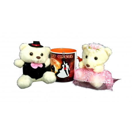 TECHNOCHITRA Exclusive Valentine Gift combo with Saffron Heart Handled Love Mug, Cute Couple Teddy and Key Ring