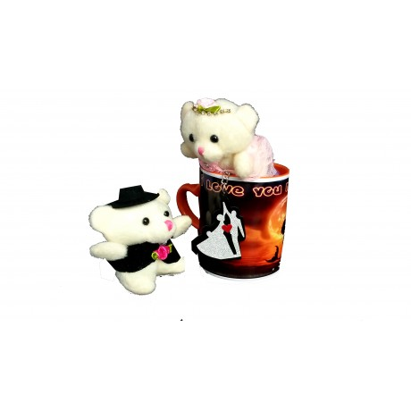 TECHNOCHITRA Exclusive Valentine Gift combo with Saffron Heart Handled Love Mug, Small Couple Teddy and Key Ring