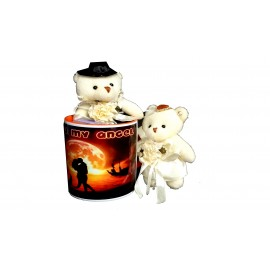 TECHNOCHITRA Exclusive Valentine Gift combo with Saffron Heart Handled Love Mug, Standing Couple Teddy and Key Ring
