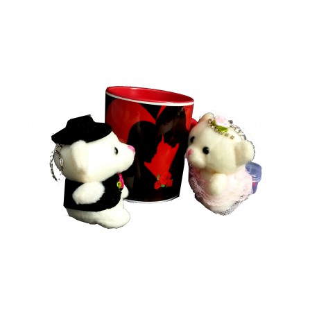 TECHNOCHITRA Exclusive Valentine Gift combo with Red Heart Handled Love Mug, Small Couple Teddy and Key Ring