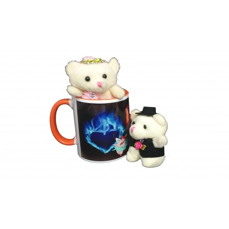 TECHNOCHITRA Exclusive Valentine Gift combo with Saffron Color Handled Love Mug, Small Couple Teddy and Key Ring