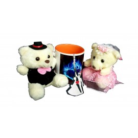 TECHNOCHITRA Exclusive Valentine Gift combo with Saffron Color Handled Love Mug, Cute Couple Teddy and Key Ring