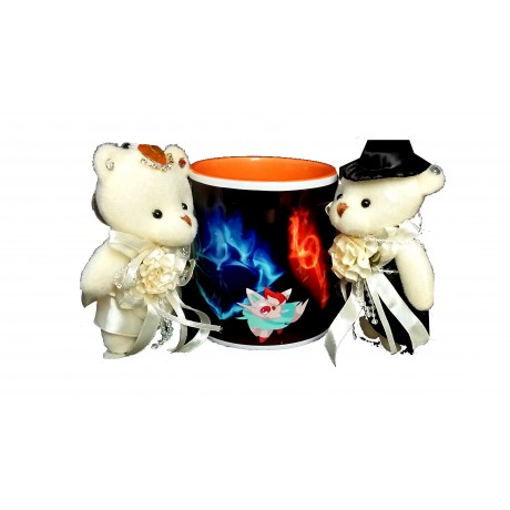 TECHNOCHITRA Exclusive Valentine Gift combo with Saffron Color Handled Love Mug, Standing Couple Teddy and Key Ring