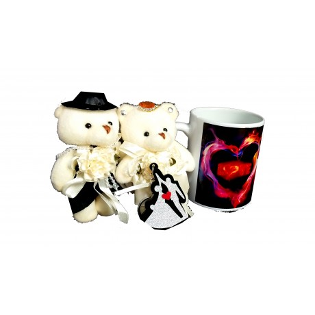 TECHNOCHITRA Exclusive Valentine Gift combo with Love Mug, Standing Couple Teddy and Key Ring
