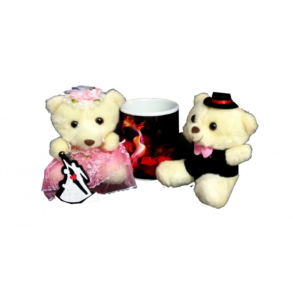TECHNOCHITRA Exclusive Valentine Gift combo with Love Mug, Cute Couple Teddy and Key Ring