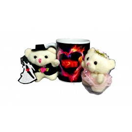 TECHNOCHITRA Exclusive Valentine Gift combo with Love Mug, Small Couple Teddy and Key Ring